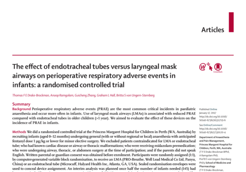 The effect of endotracheal tubes versus laryngeal mask airways on perioperative respiratory adverse events in infants: a randomised controlled trial