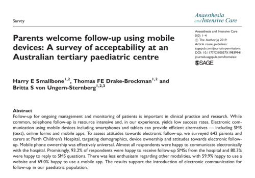 Parents welcome follow-up using mobile devices: A survey of acceptability at an Australian tertiary paediatric centre